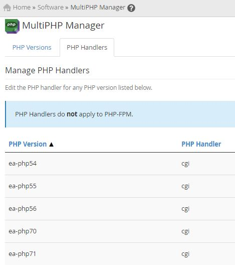 multiPHP manager Easyapache 4