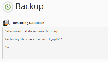 mySQL database uploaded