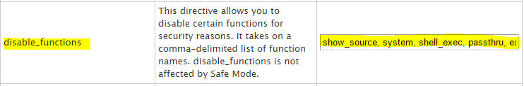 php disable functions easyapache 3
