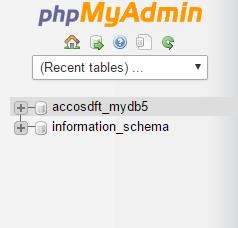 phpmyadmin databases list cpanel