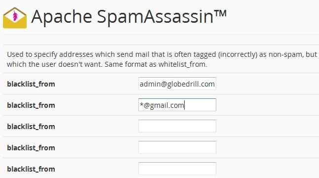 spamassassin blacklist sender