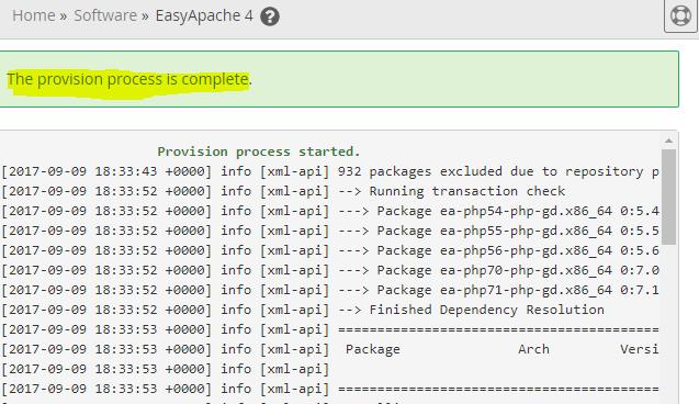 EasyApache 4 provision process