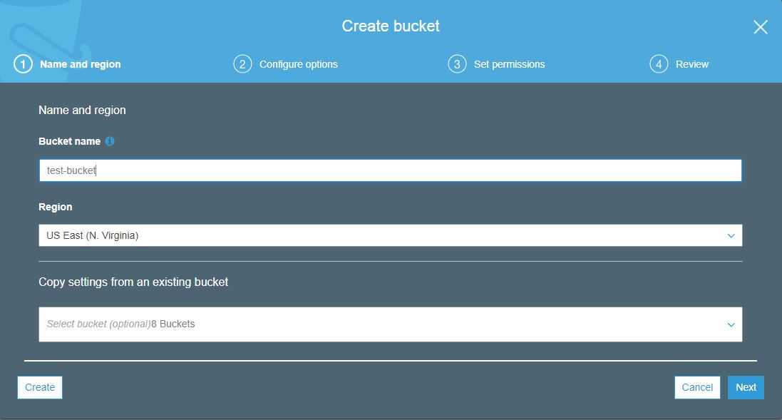Create amazon s3 bucket