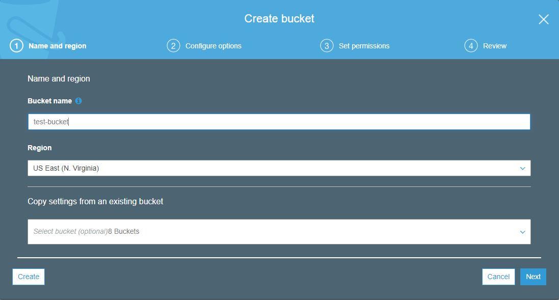 Create amazon s3 bucket