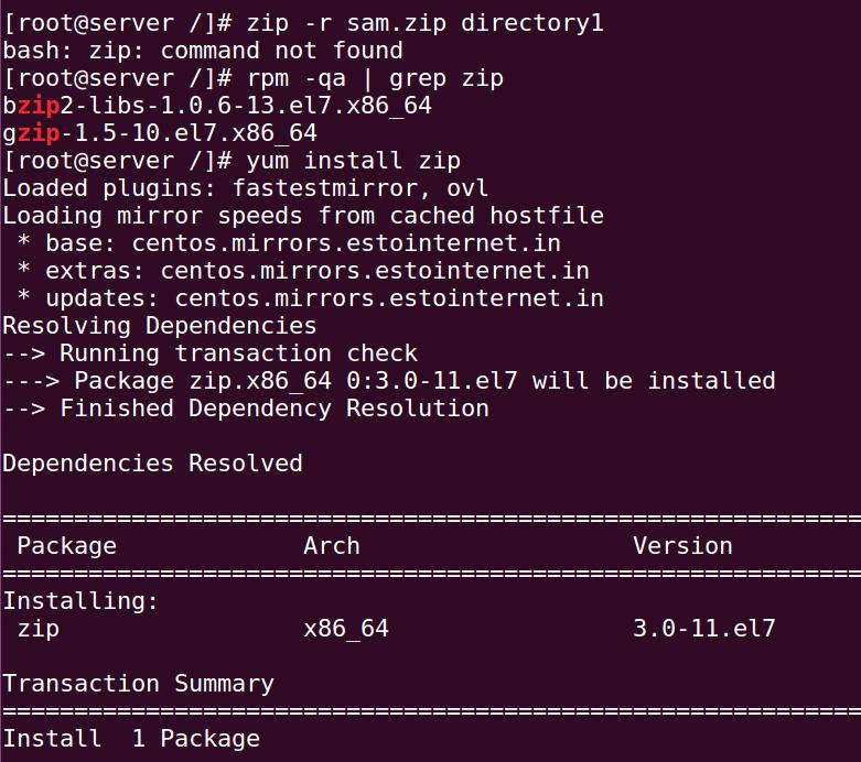 install zip command centos redhat 7