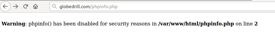 phpinfo has been disabled for security reasons