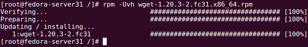 How to download and install wget rpm on Fedora 31